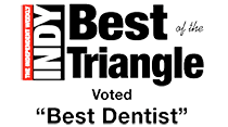 Indy Best of the Triangle Badge showing that Dr. Sarant was voted Best Dentist
