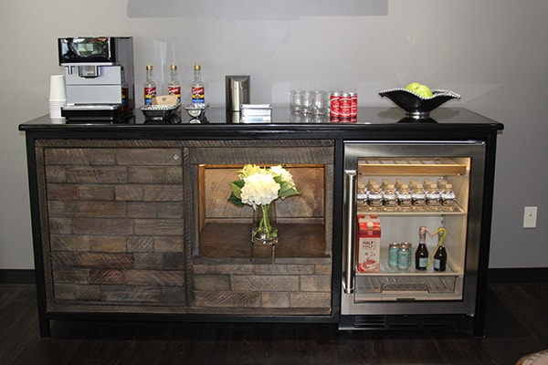The well stocked refreshment bar of this dentist in Raleigh, NC Dr. James Sarant of The Dental Market