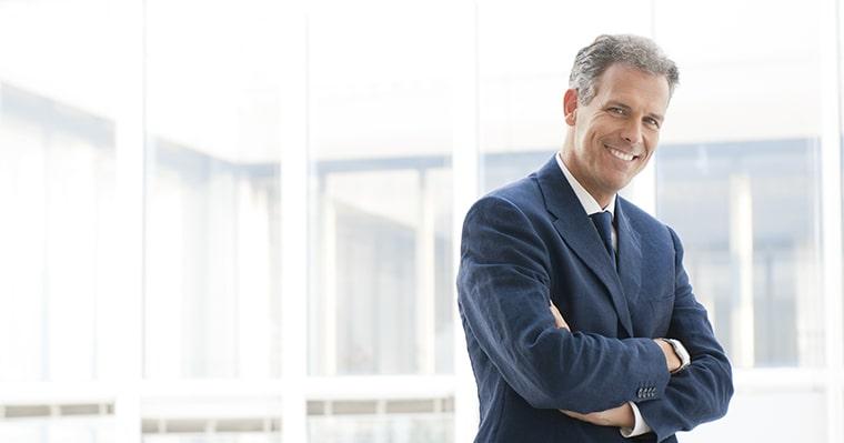 Business man smiling after smile design at The Dental Market