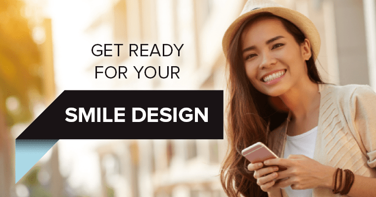 "A woman smiling in a hat with text, ""Get ready for your smile design"""